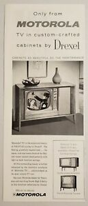 1959 Print Ad Motorola TV in Custom Crafted Profile Style Cabinets by Drexel