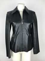 BOSS Hugo Boss Women's Small Black N.Z. Lambskin Leather Full Zip Jacket
