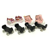 Build A Bear Shoes Black Roller Skates High Top Sneakers Lot Accessories Pink By