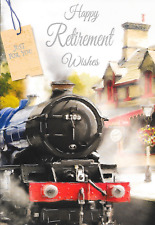 HAPPY RETIREMENT WISHES CARD,STEAM TRAIN THEME,MALE,TRADITIONAL TOP QUALITY(G1