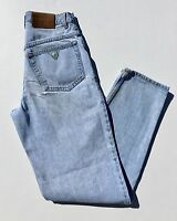 VTG Guess Jeans 80s 90s Light Wash High Waisted Ankle Mom Jeans Tapered 30x34