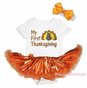 My First Thanksgiving Turkey White Bodysuit Girls Orange Bling Baby Dress NB-18M