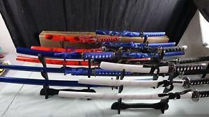New 3 PCS Red Blue or Black Dragon Samurai Japanese Katana Sword Set & Stand