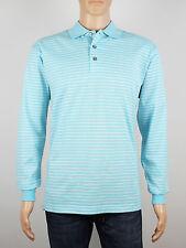 NEW Firethorn Golf Size S M L XL mens light blue stripe long sleeve polo shirt