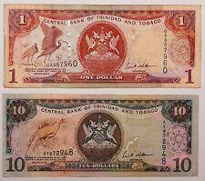 Lot 2 billets 1 et 10 Dollars Trinidad et Tobago CJ125