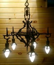 Antique/VTG Gothic Mid Evil Chandelier 5 Tier Light Cast Aluminum Spanish Tudor