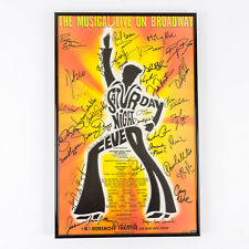 1999 Saturday Night Fever Musical on Broadway Poster Signed by Cast Framed
