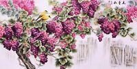 100% ORIGINAL ASIAN ART CHINESE WATERCOLOR PAINTING-Grape Fruits&birds lover
