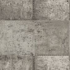 METALLIC METAL PANEL WALLPAPER SILVER & TAUPE WALL DECOR FEATURE WALL FREE P+P