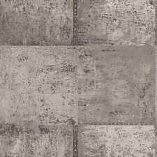 Panel de Metal Metálico Plata y gris pardo Decoración de Pared de papel pintado Característica Pared Gratis P + P