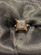Sterling Silver Large Princess Cut Smokey Quartz Ring Size N BNWOT (224)