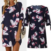 Womens Plus Size Floral Print Dresses Ladies Casual Party Mini Dress Blouse Tops
