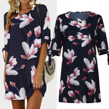 Womens Plus Size Floral Print Dresses Ladies Casual Party Mini Dress Blouse Tops