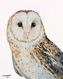 10X8 BARN OWL PORTRAIT,WILD BIRD HAND PAINTED ART  ORIGINAL WATERCOLOR PAINTING