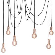 Multi Light Ceiling Pendant –6 Bulb Gloss Copper–Industrial Adjustable Hang Hook