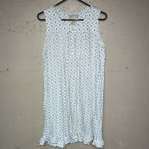 Laura Ashley Cotton Floral Sleeveless Nightgown Size M Button Front Vguc