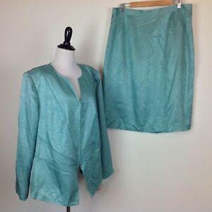 New Adrianna Papell Silk Blazer Skirt Suit Set Womens 20W