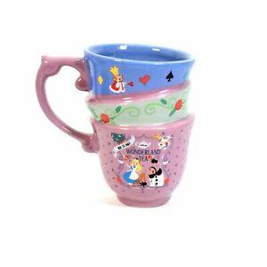 Disneyland Alice In Wonderland Triple Stacked Tea Cup Mug