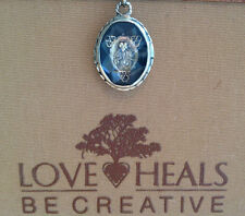 Love Heals Faceted Cabochon Crystal Rosary Brocade Charm w/plain ring NEW ret$59