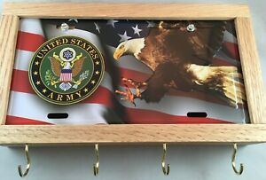 US ARMY OAK GUN CONCEALMENT BOX WALL LICENSE PLATE WALL ART KEY HOLDER LOCK DIY