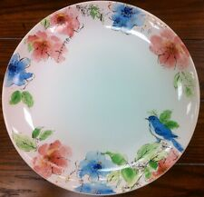 222 Fifth Bastia Rabbit Blue Bird Floral Pattern Dinner Plates - Set Of 4 - New