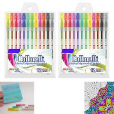 24 PK Glitter Colored Gel Pens Art Set School Sketch Drawing Adult Coloring Book