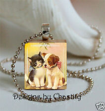 Kitty Puppy Necklace Scrabble Charm Pendant Cat and Dog under the Mistletoe