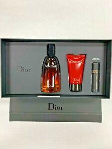 Fahrenheit by Christian Dior Men 3 Pc Set 3.4oz EDT Spray & Shower Gel+MiniSpray