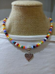 Bright multicoloured glass seed bead necklace with  heart charm ~ love beads