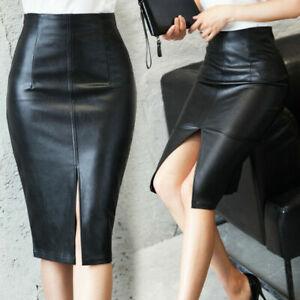 Women PU Leather Pencil Midi High Waist Split Skirt Stretch Dress Slim Sexy