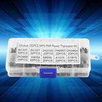 200pcs 10 Values Silicon Transistors Assortment BC337 BC327 2N2222 2N2907 2N3904