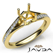 Pave Setting Cushion Diamond Engagement 18k Yellow Gold Semi Mount Ring 0.18Ct