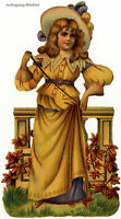 Vintage Victorian die cut paper scrap, Young Lady (lg) from c. 1880