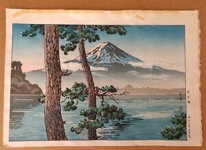 """TSUCHIYA KOITSU (1870-1949) """"LAKE KAWAGUCHI"""" 1933 JAPANESE WOODBLOCK PRINT JAPAN"""