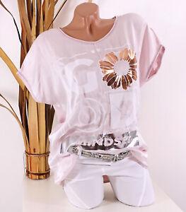 Italy 36 38 40 Shirt rosa Damen Tunika Good Print Glitzer Blume Seide Optik