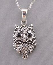 Owl Necklace Pendant 925 Sterling Silver Black Eyes Jewelry NEW