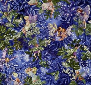 Michael Miller Blue and Purple Night Garden Fairy Quilt Fabric by the HALF Yard