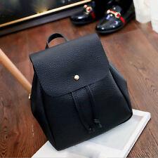 Women Student Schoolbag Backpack Drawstring Satchel Shoulder Bags Rucksack Black