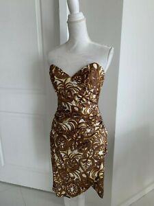Milly Brown & ivory Print Strapless Cotton Dress SZ 2 XS
