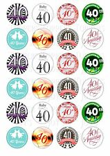 24 40TH RUBY ANNIVERSARY  CUPCAKE TOPPER ICED  ICING EDIBLE FAIRY CAKE TOPPERS