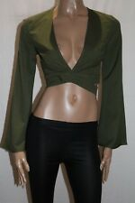 HEART ON FIRE Brand Olive Green Long Sleeve Cropped Wrap Top Size 8 BNWT #TS16
