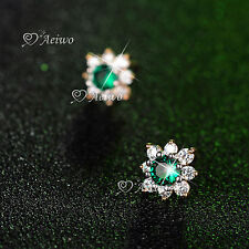 18K YELLOW GOLD GF STUD MADE WITH SWAROVSKI CRYSTAL EARRINGS SMALL CUTE