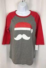 Modern LUX Women's Large L Santa Mustache T Shirt Christmas Holiday