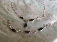Vtg. AMCO Sterling Silver & Rhodium Finish Black Stone Onyx ? Necklace &Bracelet