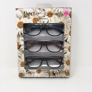 Betty Johnson Reading Glasses +2.50 Black Animal Print 3 Pair New