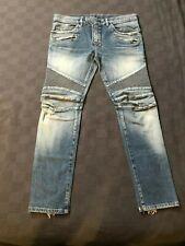 BALMAIN Slim-Fit Faded Jeans Moto Style Men's 36