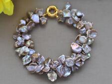 "Z10419 2Row 8"" 10mm Lavender Baroque Keshi Pearl Bracelet"