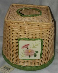 NEW WAVERLY GARDEN ROOM PARADISE ISLAND TROPICAL HIBISCUS TISSUE BOX COVER