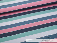 """Jersey-Stoff Mädchen Baby Damen Block-Streifen petrol """"widestripes #meadow"""" 0,5m"""