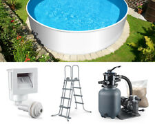 Stahlwand Pool Set 460 x 120 cm rund mit Leiter Filter Schwimmbecken Swimming